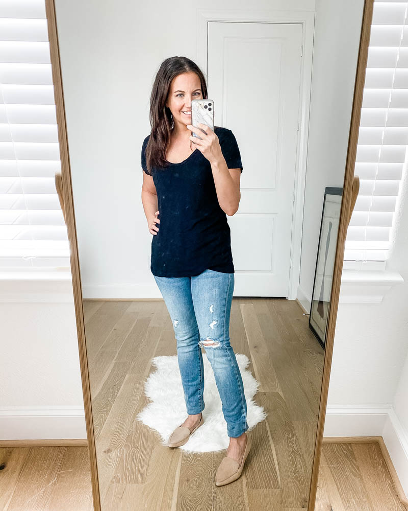 casual outfits | black short sleeve tee | faded blue distressed jeans | Popular US Fashion Blog Lady in Violet