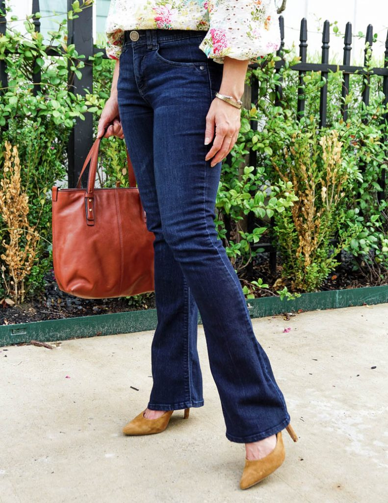 fall fashion | petite flared jeans | brown suede heels | Casual Fashion Blog Lady in Violet