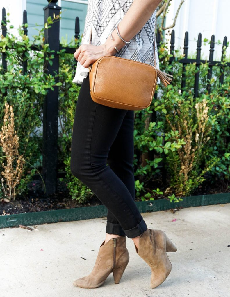fall outfit | black skinny jeans | brown booties | Houston Fashion Blog Lady in Violet