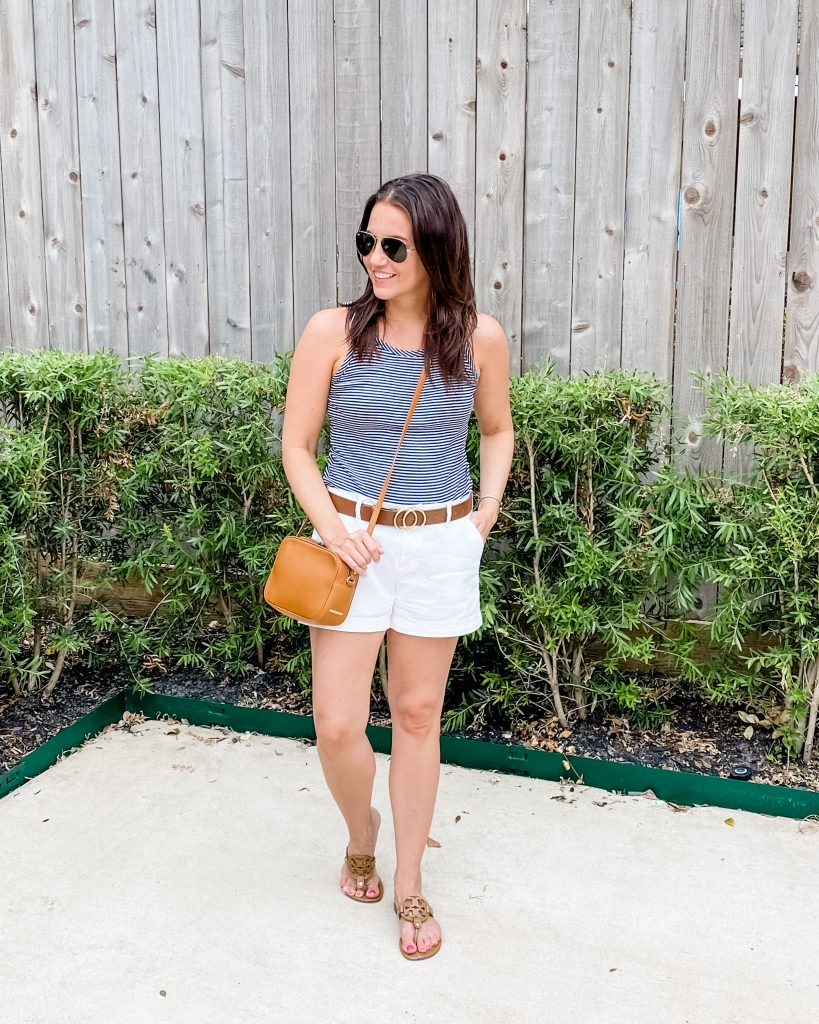 summer fashion | striped tank top | white cotton shorts | Texas Fashion Blog Lady in Violet