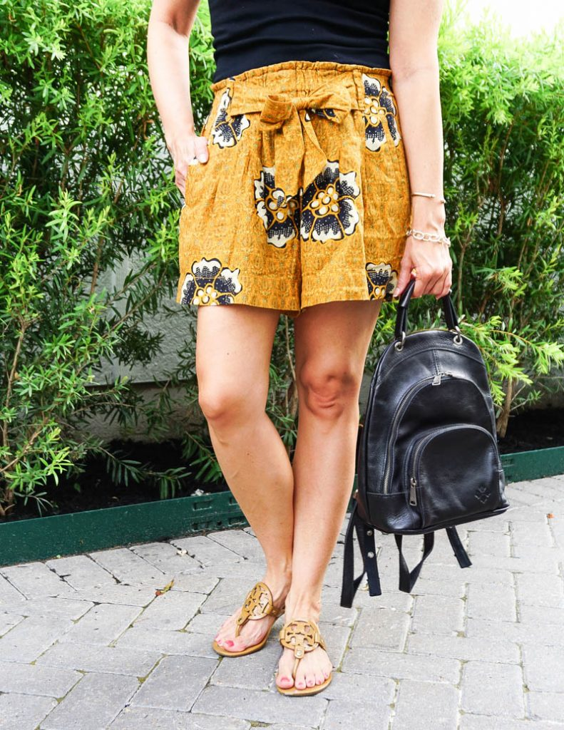 summer style | yellow floral paperbag shorts | tory burch sandals | Casual Fashion Blog Lady in Violet