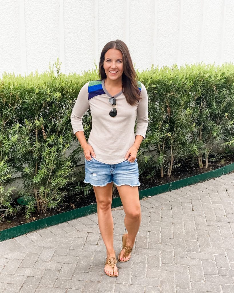 casual outfit | gray tshirt | cutoff jean shorts | Houston Fashion Blog Lady in Violet