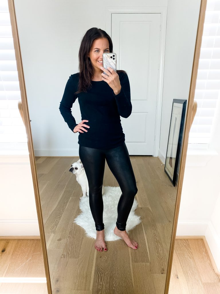nsale try on session | long sleeve black tee | spanx faux leather leggings | Petite Fashion Blogger Lady in Violet