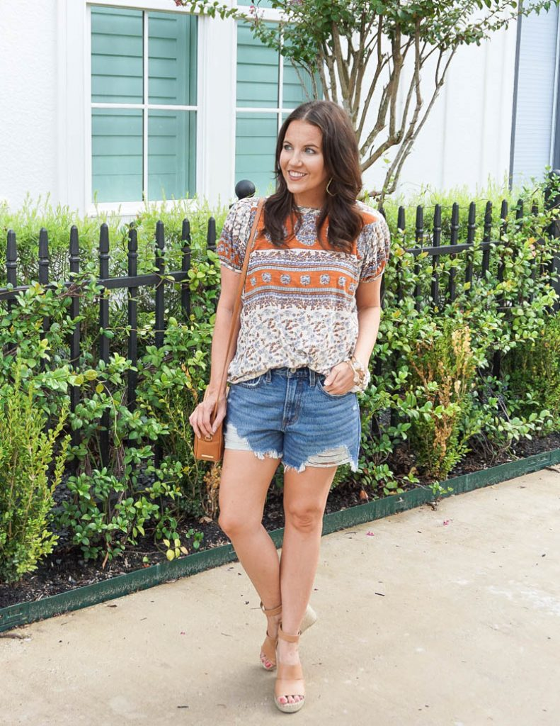 summer outfit | free people tunic | abercrombie denim shorts | Houston Fashion Blog Lady in Violet