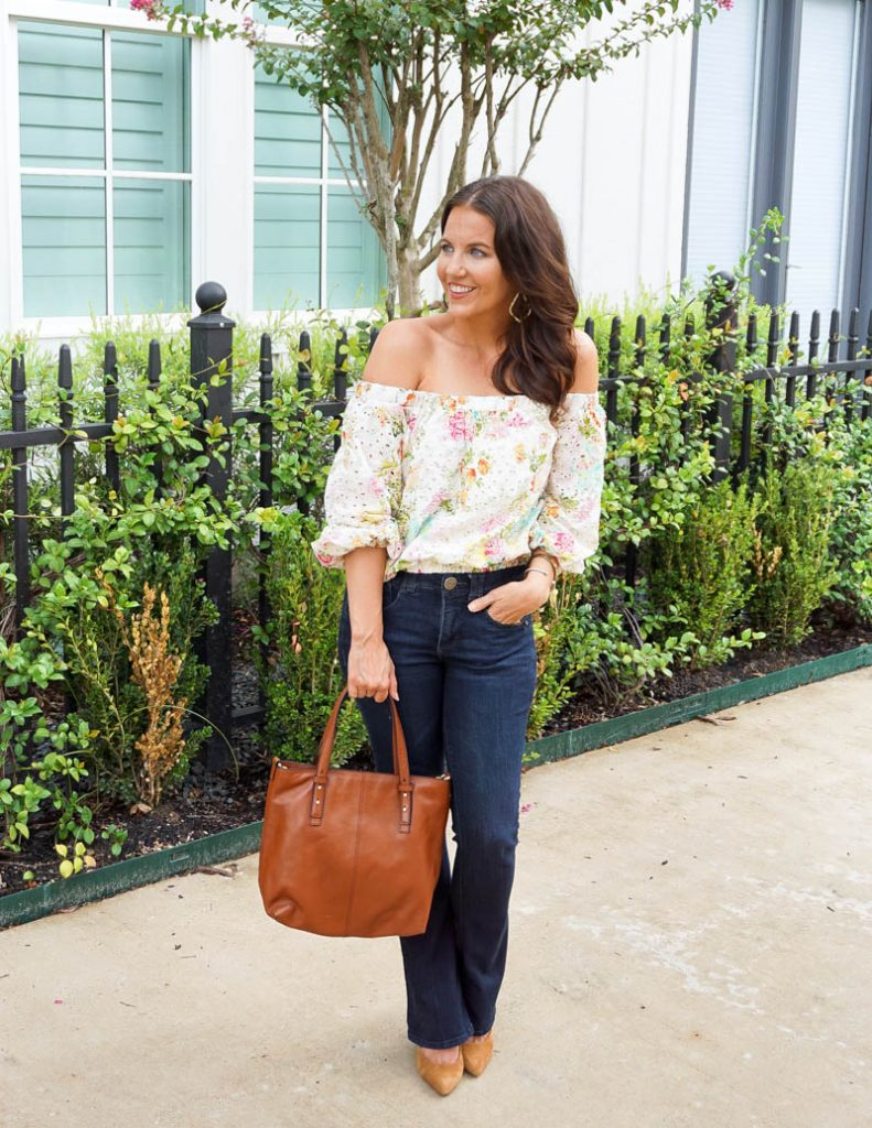 summer outfit | white eyelet ots top | dark wash flared jeans | Houston Fashion Blog Lady in Violet