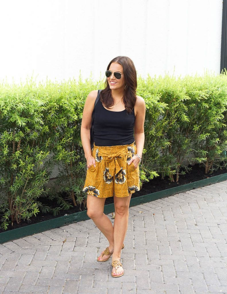 summer outfits | mustard yellow tie waist shorts | black fitted tank top | Houston Fashion Blog Lady in Violet