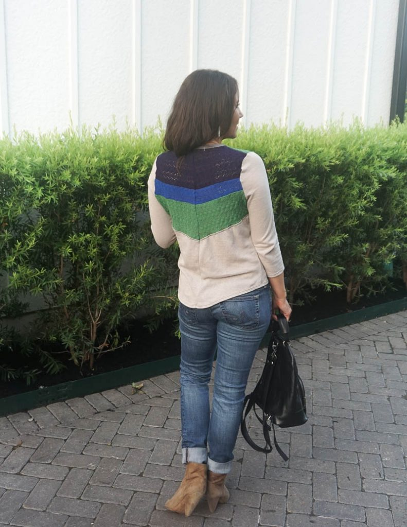 fall outfit | colorful striped tee with basic blue jeans | Casual Fashion Blog Lady in Violet