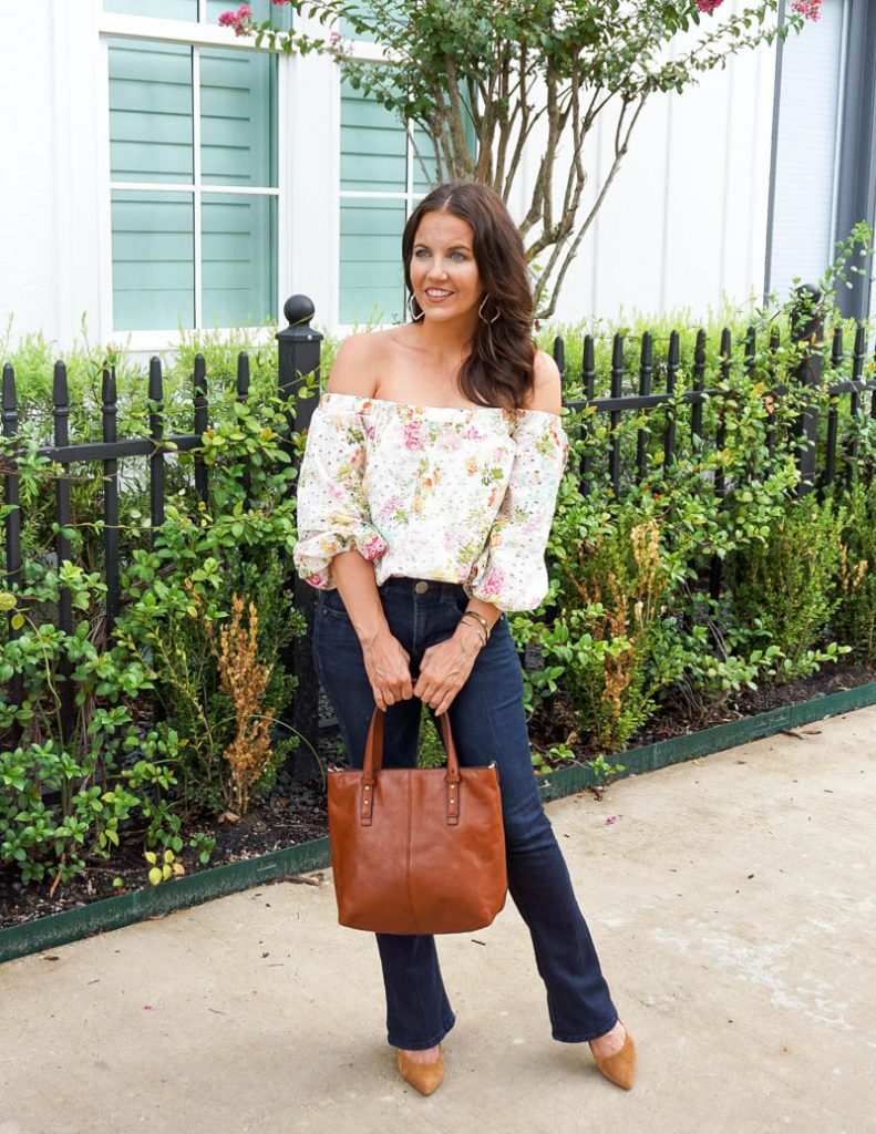 fall outfit | white floral off the shoulder top | brown handbag | Texas Fashion Blog Lady in Violet