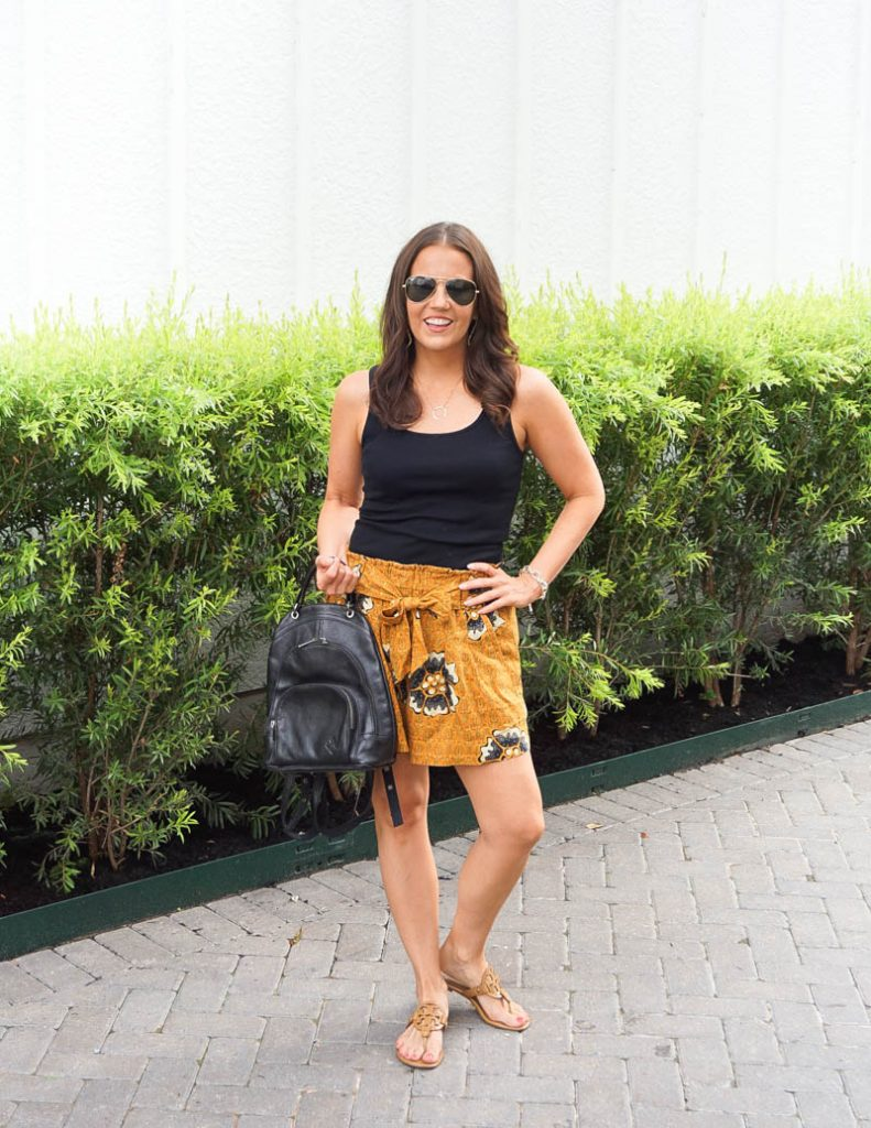 summer outfit | yellow cotton shorts | black leather backpack purse | Texas Fashion Blog Lady in Violet