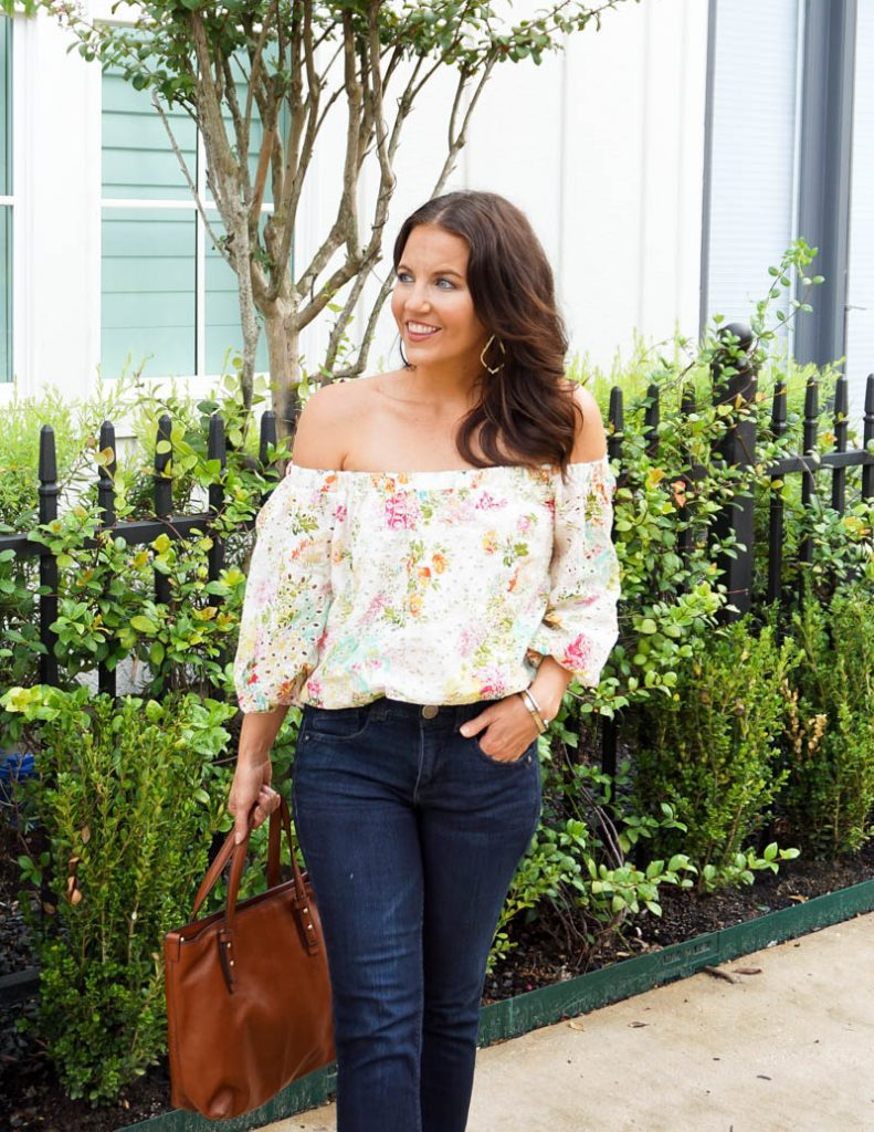 fall outfit | white off the shoulder blouse | brown tote bag | Everyday Fashion Blog Lady in Violet