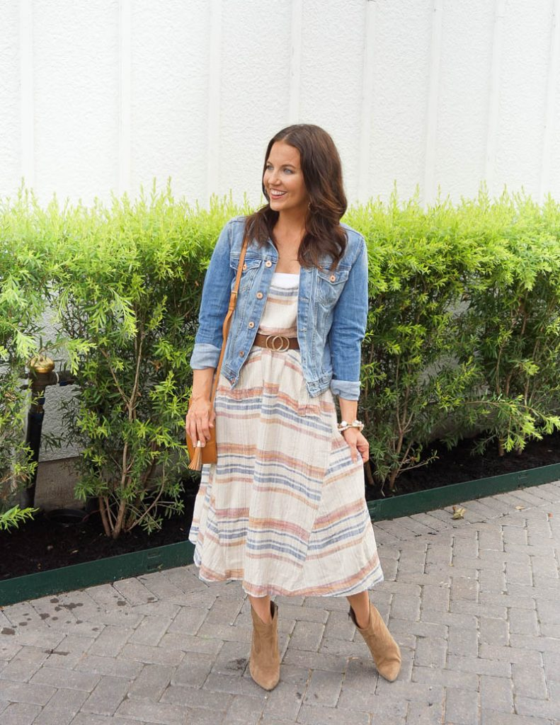 how to transition summer dress into fall | denim jacket | Petite Fashion Blogger Lady in Violet