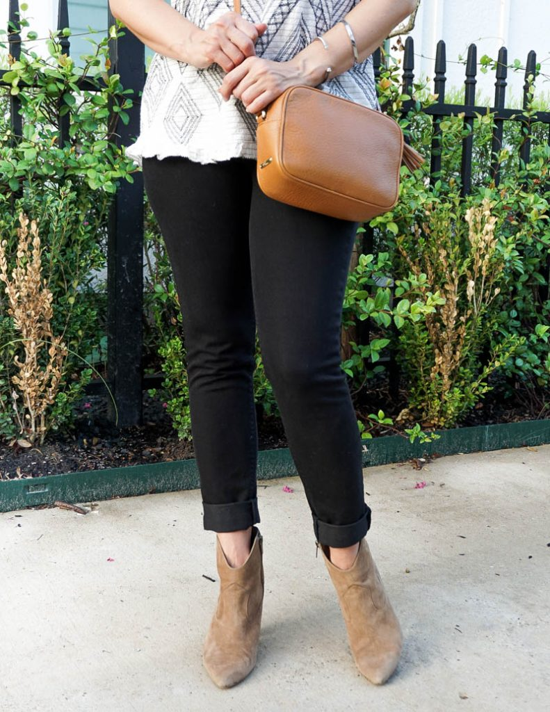 fall fashion | black denim | brown booties | Casual Outfits Blogger Lady in Violet