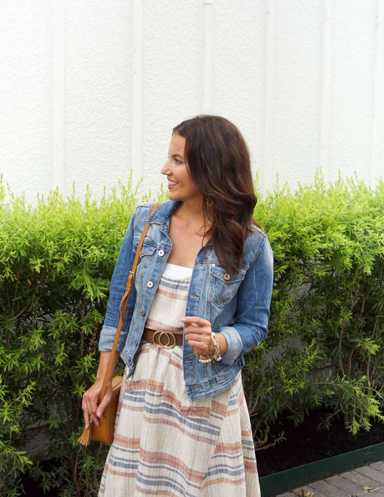fall outfit | jean jacket | belted maxi dress | Everyday Fashion Blog Lady in Violet
