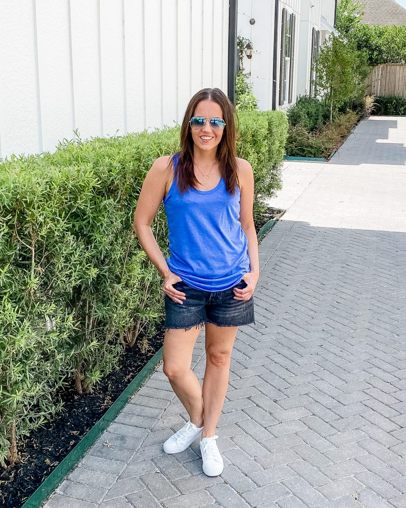 summer fashion | blue tank top | faded black denim shorts | Casual Style Blog Lady in Violet