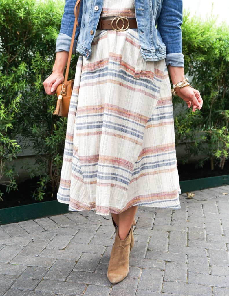 casual outfit | free people dress | brown booties | Southern Style Blog Lady in Violet