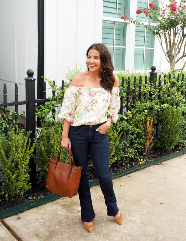 casual outfit | white pink floral ots top | petite bootcut jeans | Petite Fashion Blogger Lady in Violet
