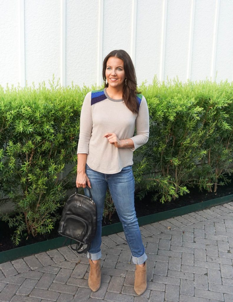 fall style | gray 3/4 sleeve tee | black backpack purse | Petite Fashion Blogger Lady in Violet