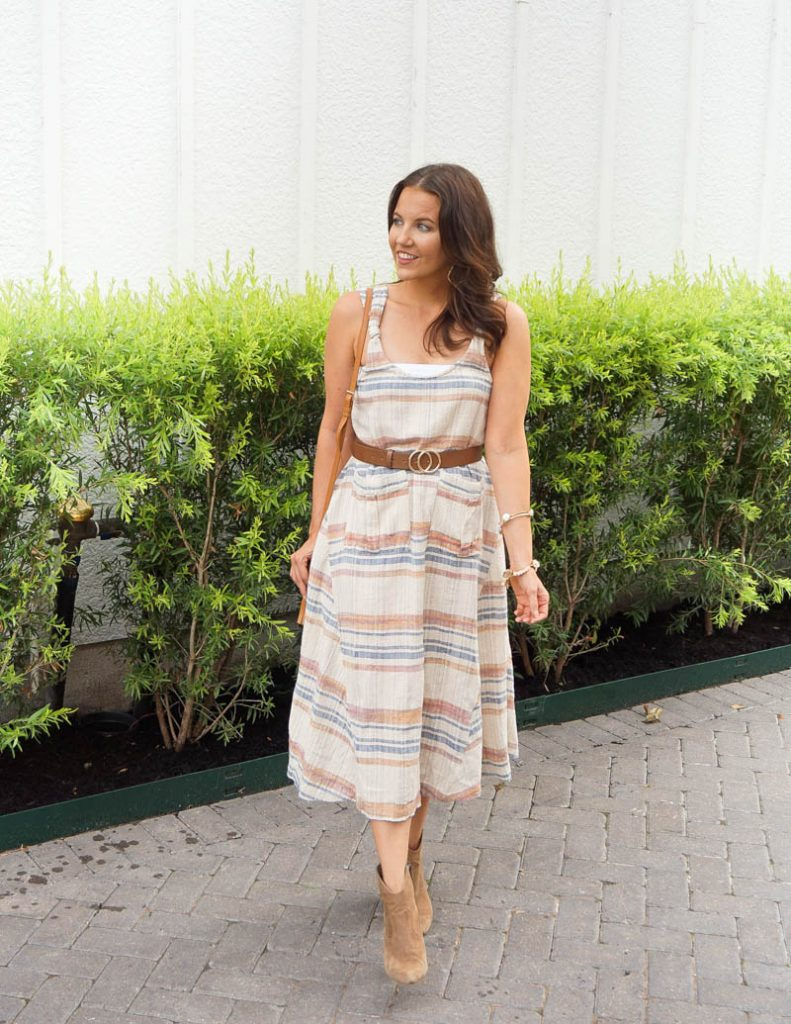 summer outfit | striped midi dress | brown belt | Affordable Fashion Blog Lady in Violet