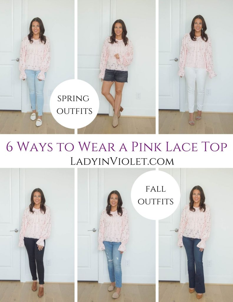 6 Ways to Wear a Pink Lace Top | spring outfits | fall outfits | Petite Fashion Blogger Lady in Violet