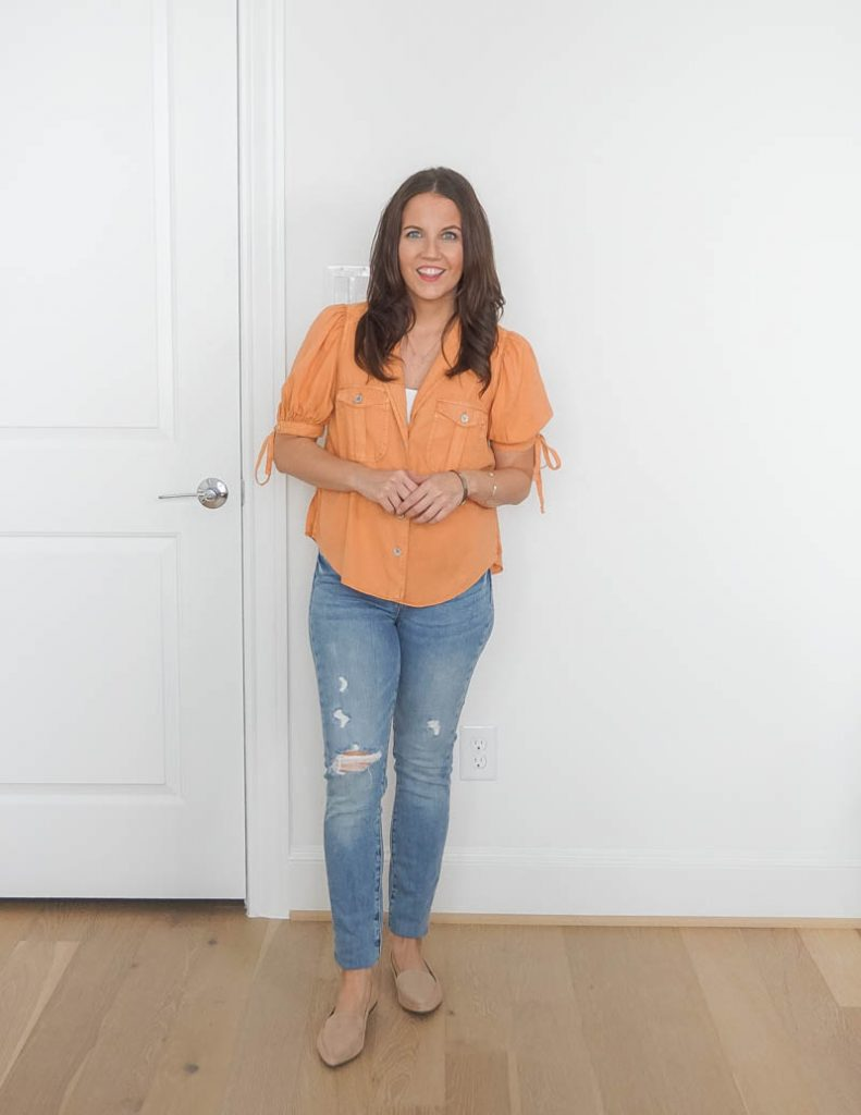 casual outfit | short sleeve orange top | distressed jeans | Houston Fashion Blog Lady in Violet