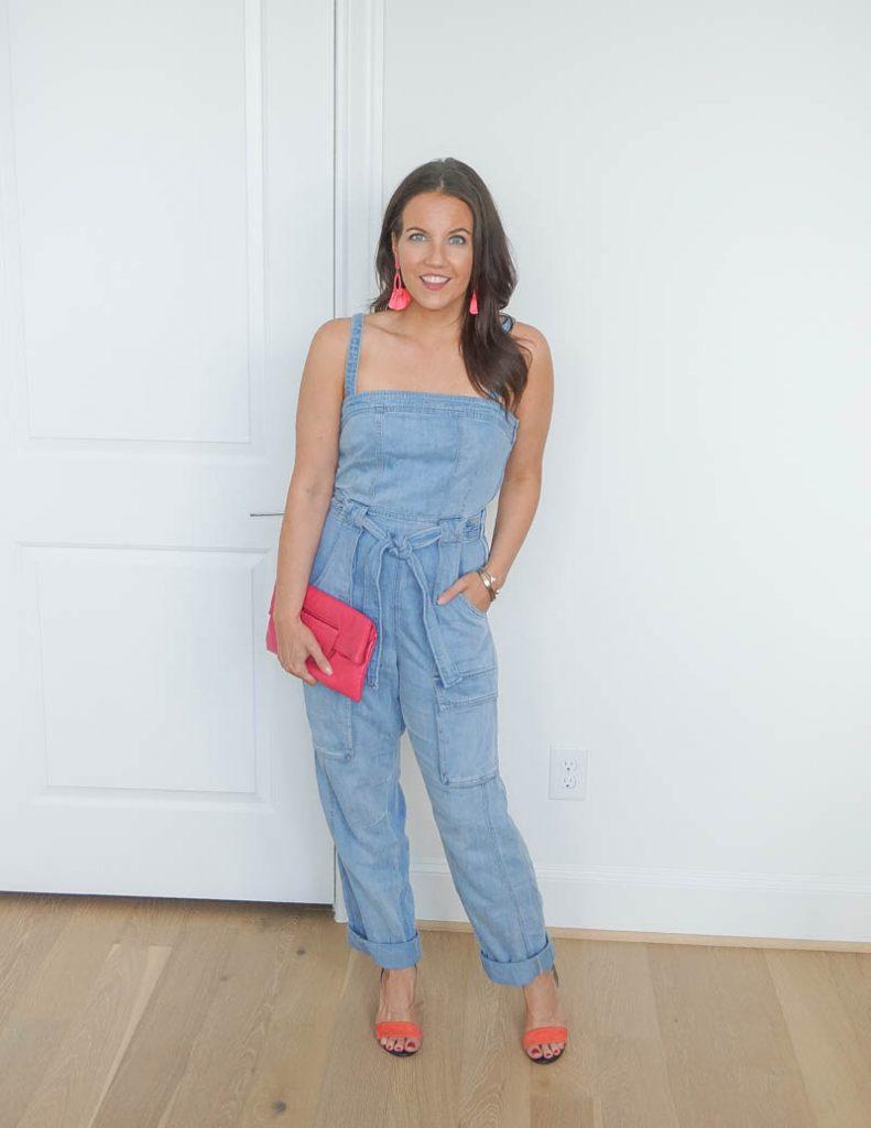 summer outfit | denim jumpsuit | pink block heel sandals | Houston Fashion Blog Lady in violet