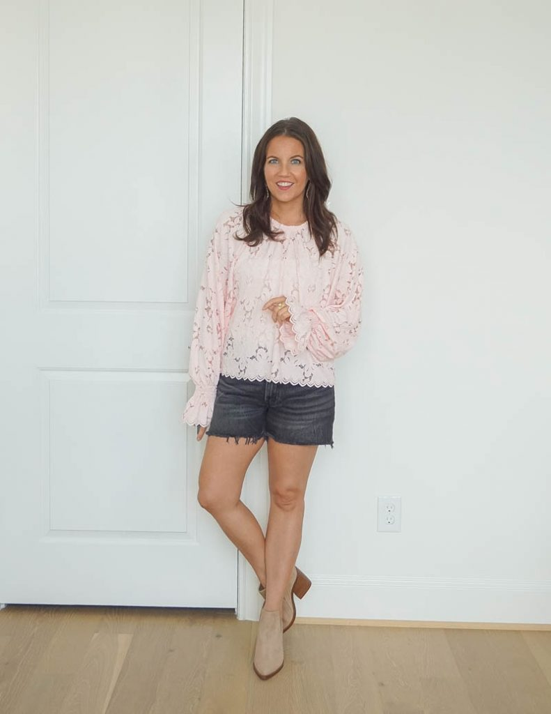 summer outfit | long sleeve pink lace blouse | faded black jean shorts | Houston Fashion Blog Lady in Violet