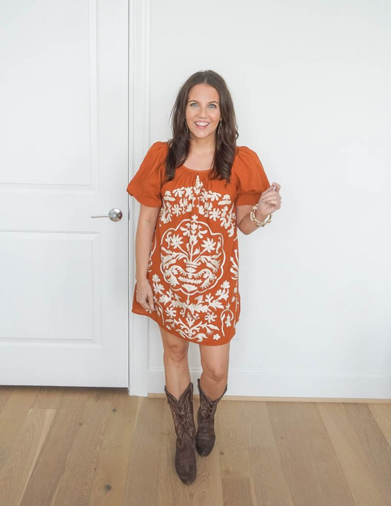western outfit | dark orange embroidered dress | cowboy boots | Houston Fashion Blog Lady in Violet