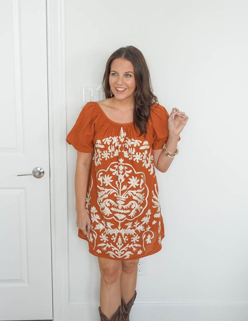 rodeo outfit | burnt orange mini dress | stone bangles | Texas Fashion Blog Lady in violet