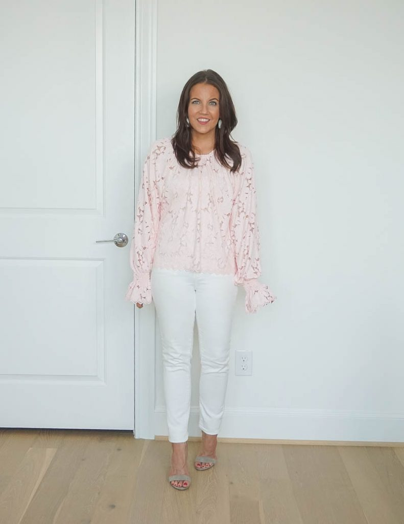 spring outfit | blush pink lace top | white skinny jeans | Everyday Style Blog Lady in Violet