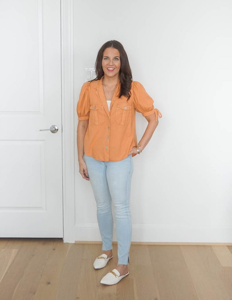 spring outfit | light orange top | white leather slides | Texas Fashion Blog Lady in Violet