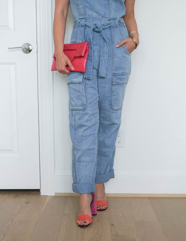 summer girls night out outfit | denim overalls | pink strappy heels | Texas Fashion Blog Lady in Violet