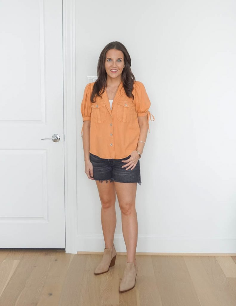 summer outfit | short sleeve button up top | faded black denim shorts | Affordable Fashion Blog Lady in Violet