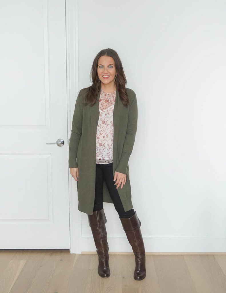 winter outfit | long olive green cardigan | brown boots | popular petite fashion blogger Lady in Violet