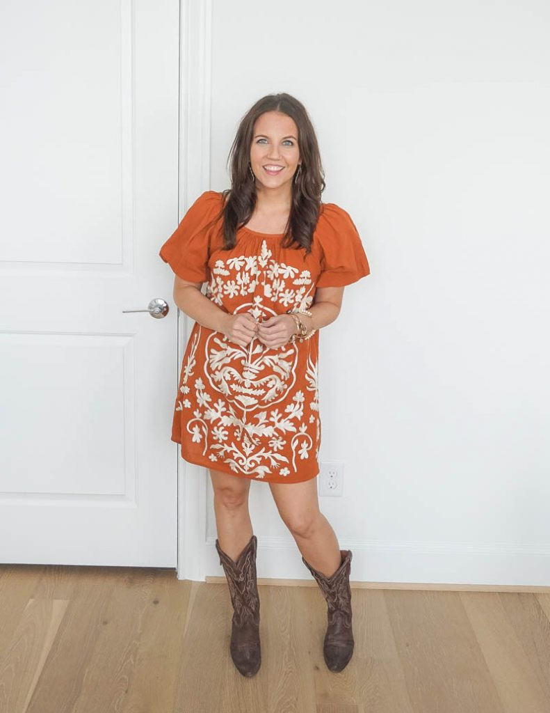 cute western outfit for women | burnt orange embroidered dress | cowboy boots | Petite Fashion Blog Lady in violet