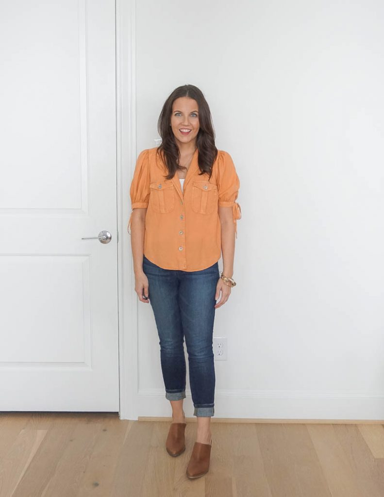 fall outfit | short sleeve orange blouse | brown mules | Petite Fashion Blog Lady in Violet