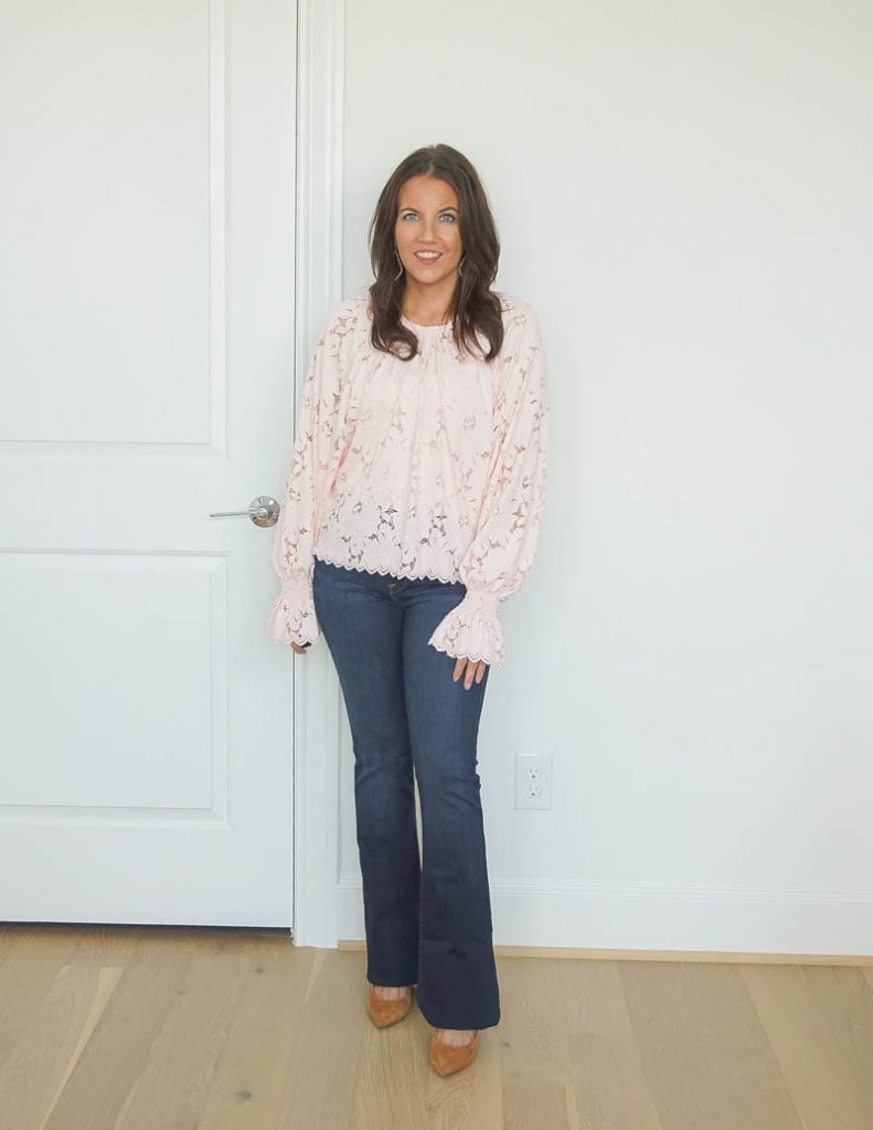 fall outfits | long sleeve light pink blouse | dark wash flared jeans | Top US Fashion Blog Lady in Violet