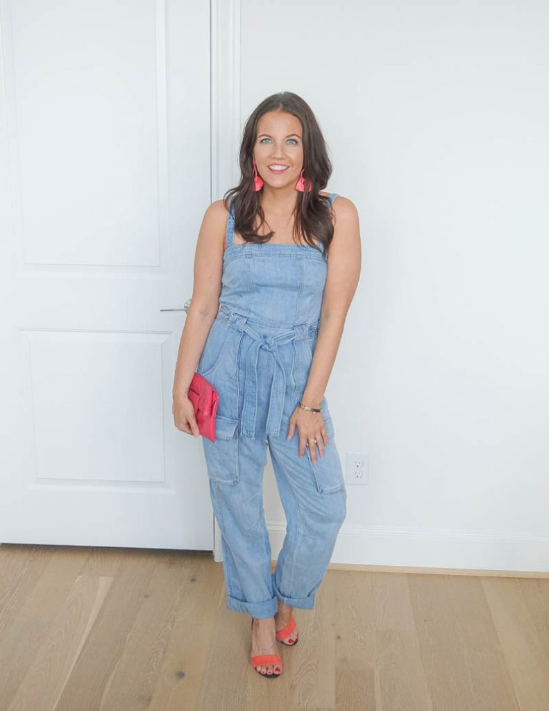 summer fashion | denim jumpsuit | pink clutch purse | Petite Fashion blogger Lady in Violet