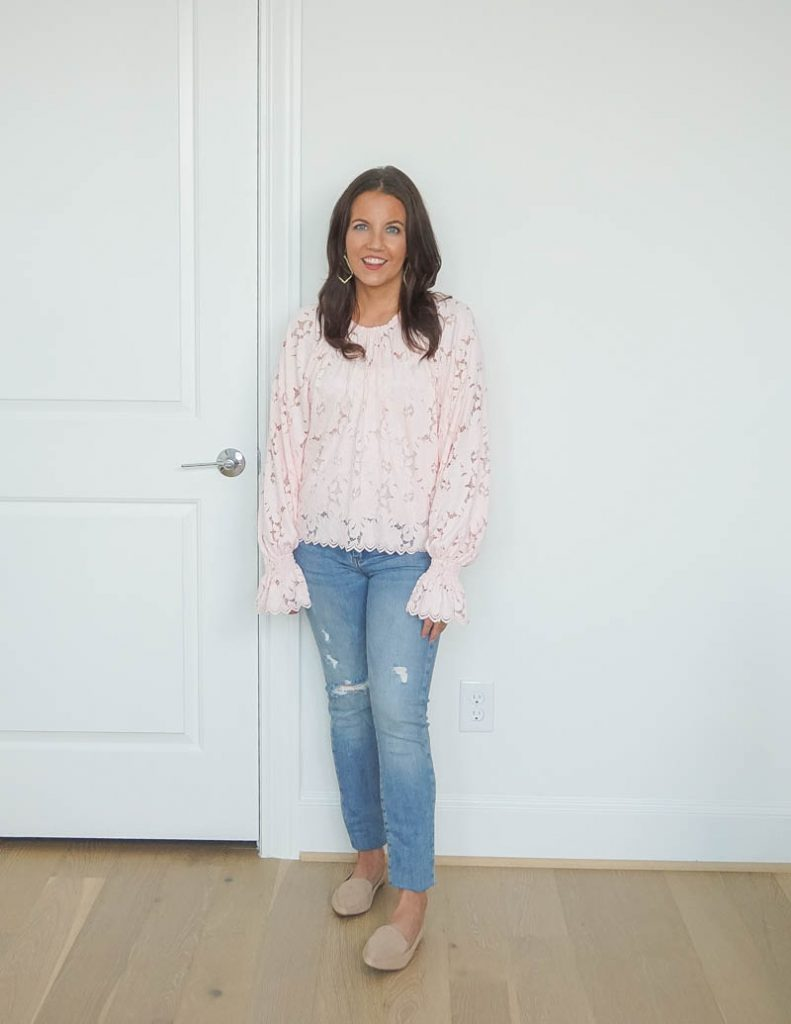 casual fall fashion | baby pink lace blouse | distressed blue jeans | tan loafers | Petite Fashion Blogger Lady in Violet