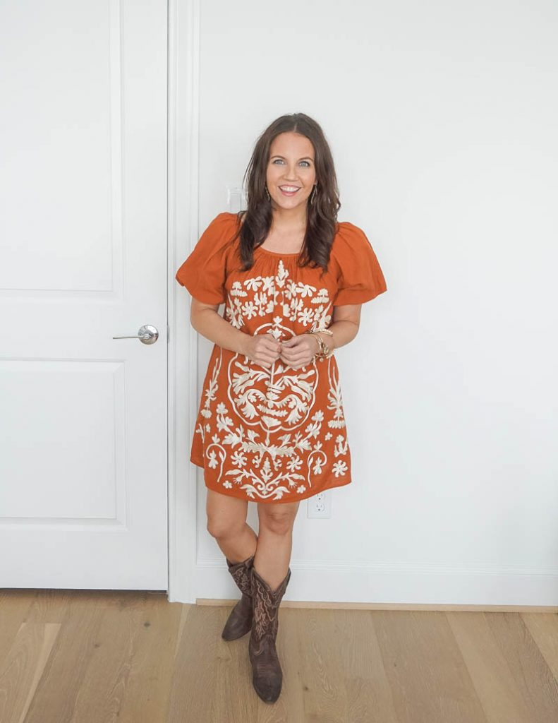 texas football tailgate outfit | burnt orange mini dress | cowboy boots | Casual Fashion Blog Lady in Violet