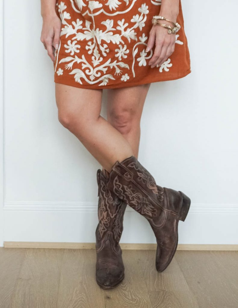 houston rodeo outfit | cowboy boots | dark orange mini dress | Popular US Fashion Blog Lady in Violet