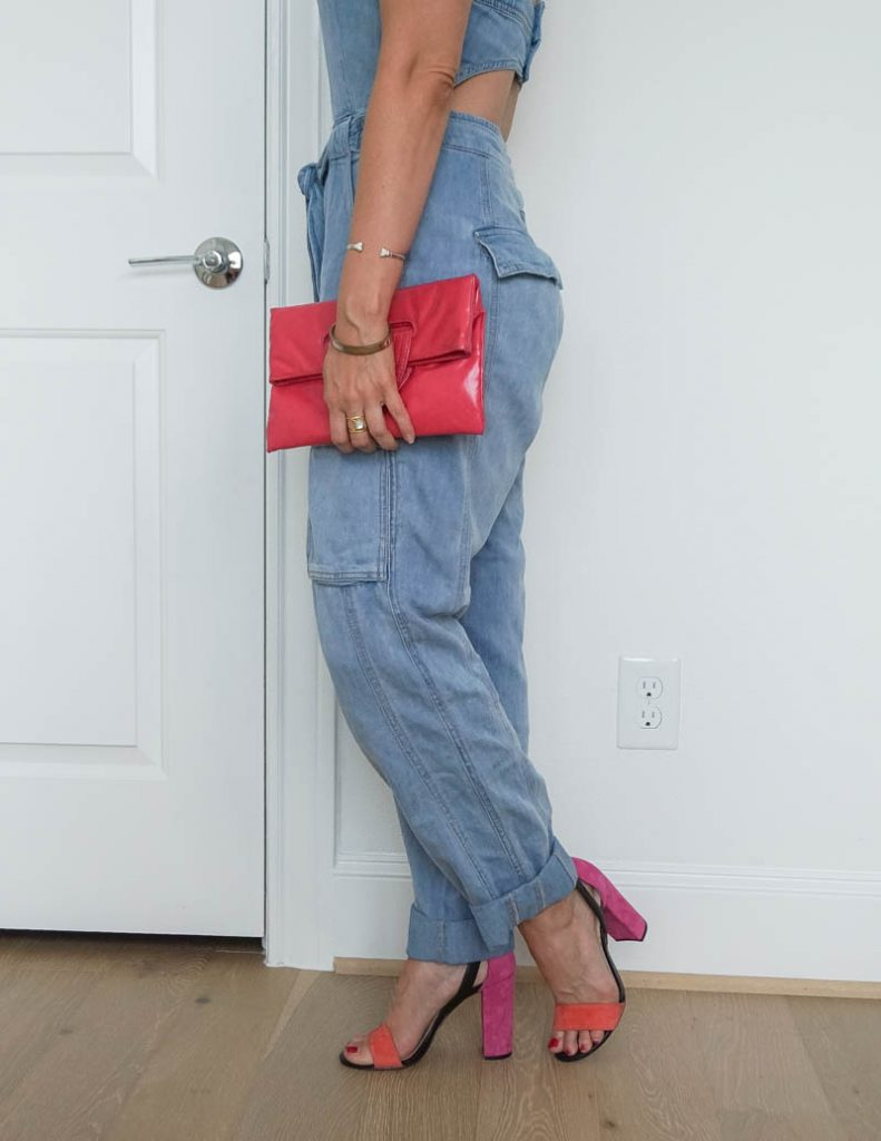 summer outfit | denim open back jumpsuit | pink block heel sandals | Southern Style Blog Lady in Violet