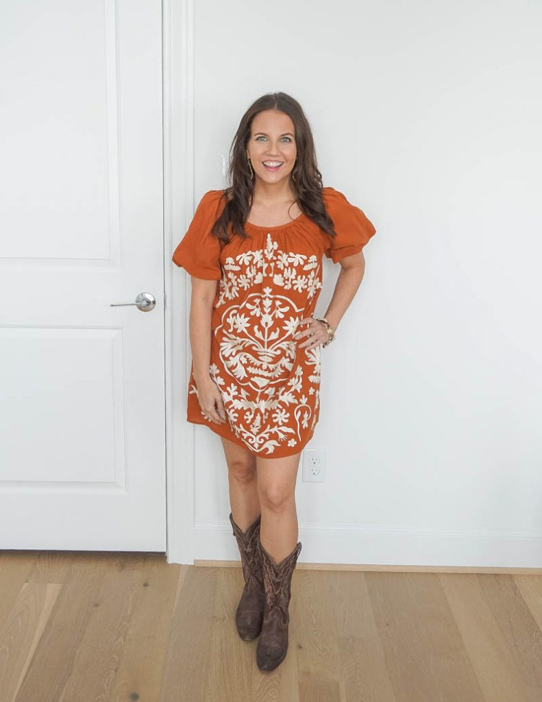 country western outfit idea | dark orange embroidered mini dress | cowboy boots | Top Houston Fashion Blog Lady in Violet
