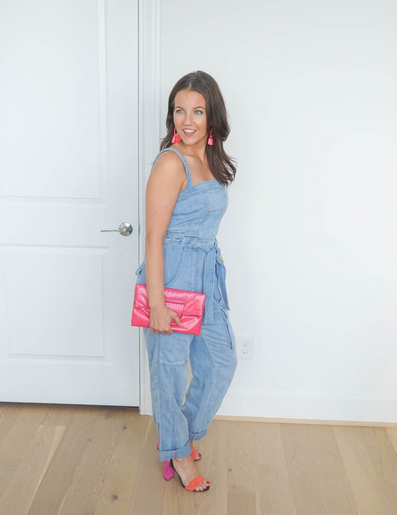 cute date night outfit | denim jumper | colorful heels | Everyday Fashion Blog Lady in Violet