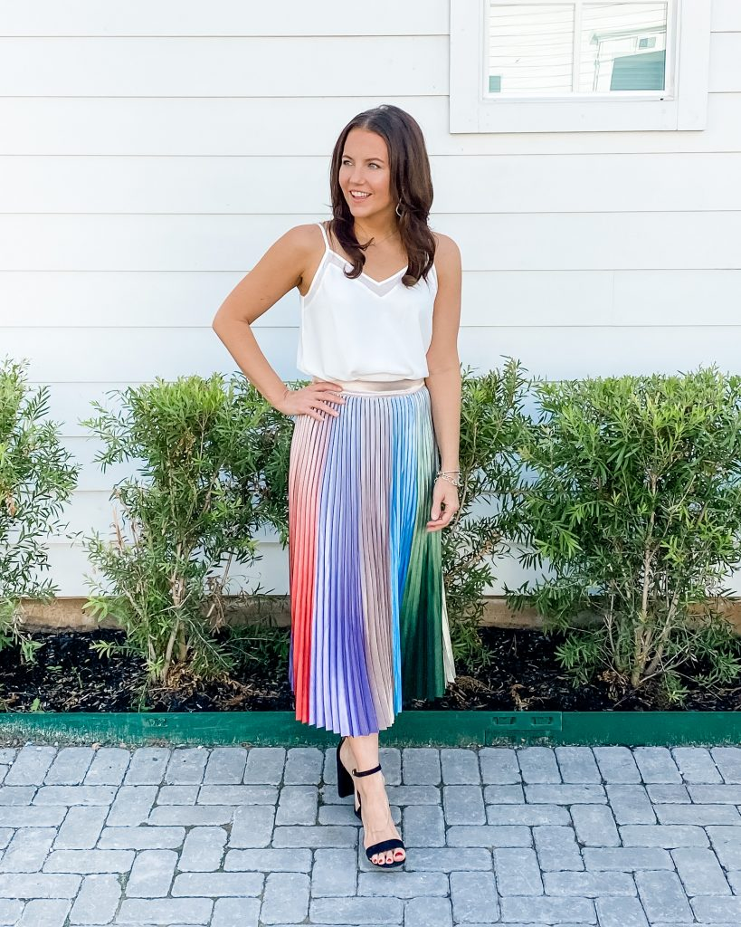 date night outfit | bridal shower outfit | white cami | pleated midi skirt | Petite Fashion Blog Lady in Violet