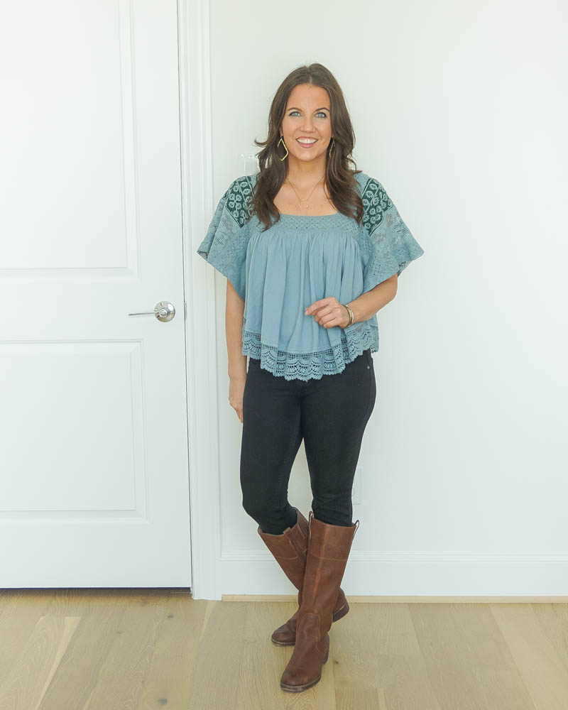 fall outfits | blue flowy top | brown boots | Houston Fashion Blog Lady in Violet