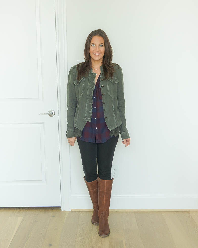 fall outfits | military jacket | plaid top | brown boots | Houston Fashion Blog Lady in Violet