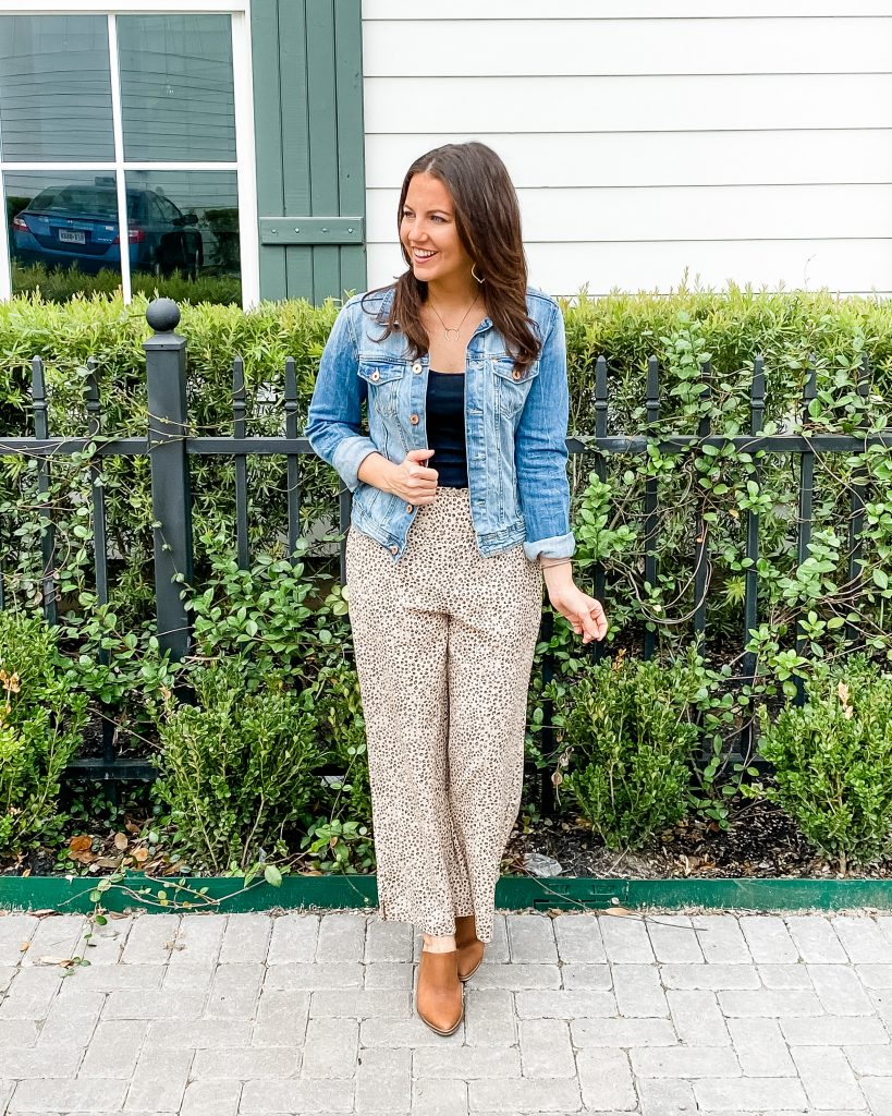 fall workwear | pajama pants | denim jacket | Texas Fashion Blog Lady in Violet