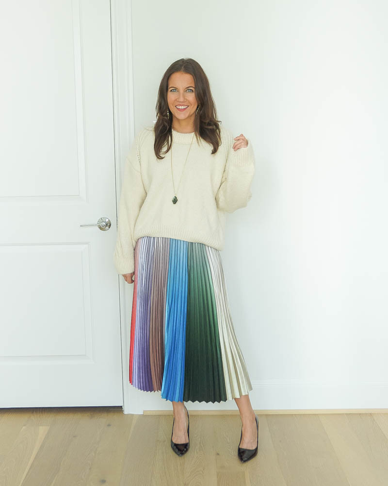 winter outfit | oversized cropped sweater | rainbow pleated midi skirt | Petite Fashion Blog Lady in Violet
