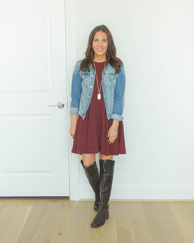 fall outfit | denim jacket | over the knee boots | Houston Fashion Blog Lady in Violet