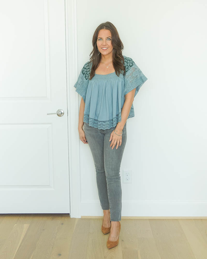 fall outfit | gray jeans | brown heels | Petite Fashion Blog Lady in Violet